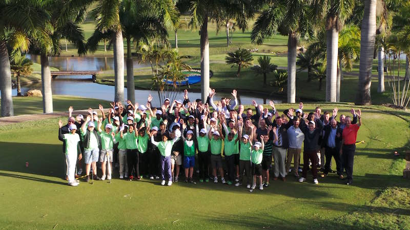 The junior golfers and professionals from the PGA of South Africa's KZN Region who took part in the Junior Pro-Am at San Lameer Golf Estate. Credit: Loraine Miller.