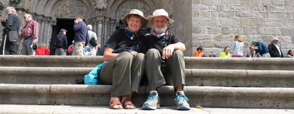 Sitting on the steps of Santiago Cathedral