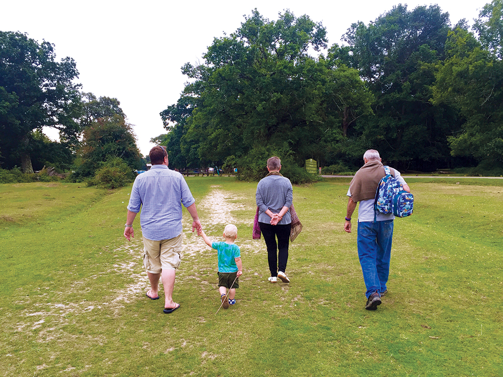 Part of our glamping adventure - off for a walk in the English countryside