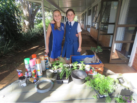 St Mary's students get creative (l-r) Chloe Redman and Mackenzie Jelliman.