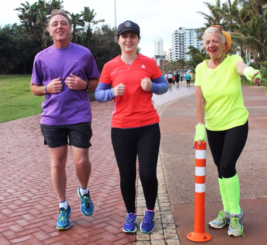 (L-R) Kevin Bouwer (Type 1 Diabetic) with Riley Mc Cabe who will be participating in the Durban Wellness Festival on Saturday, November 11th and Molly (the Marshall) Nel from the Durban Athletics Club who will be one of the marshals' on hand on the day of the event.