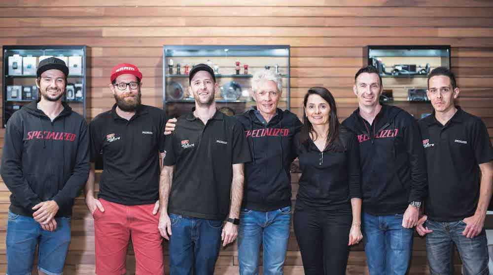 Top from left: Andre Pretorius, Luke de Klerk, Daniel Brits, Leigh Durham, Susan Durham, Jason Hall and Nicholas Smith.