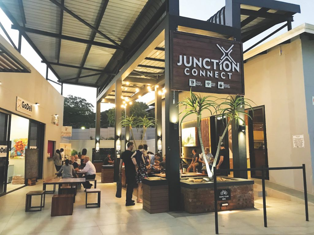 The safe and comfortable seating area at The Junction on Inanda shopping precinct.