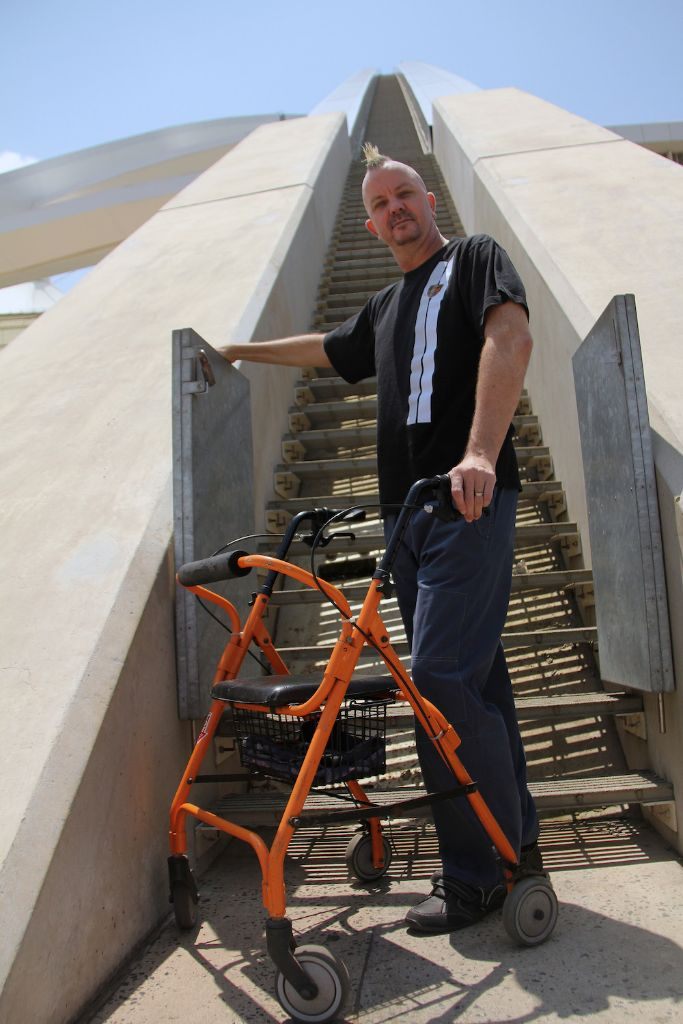 MARK Charlesworth, who was left paralysed after a car accident seven years ago, against the odds, now prepares for his next challenge, climbing the over 550 steps on the arch at theMoses Mabhida stadium. Picture: Colleen Dardagan