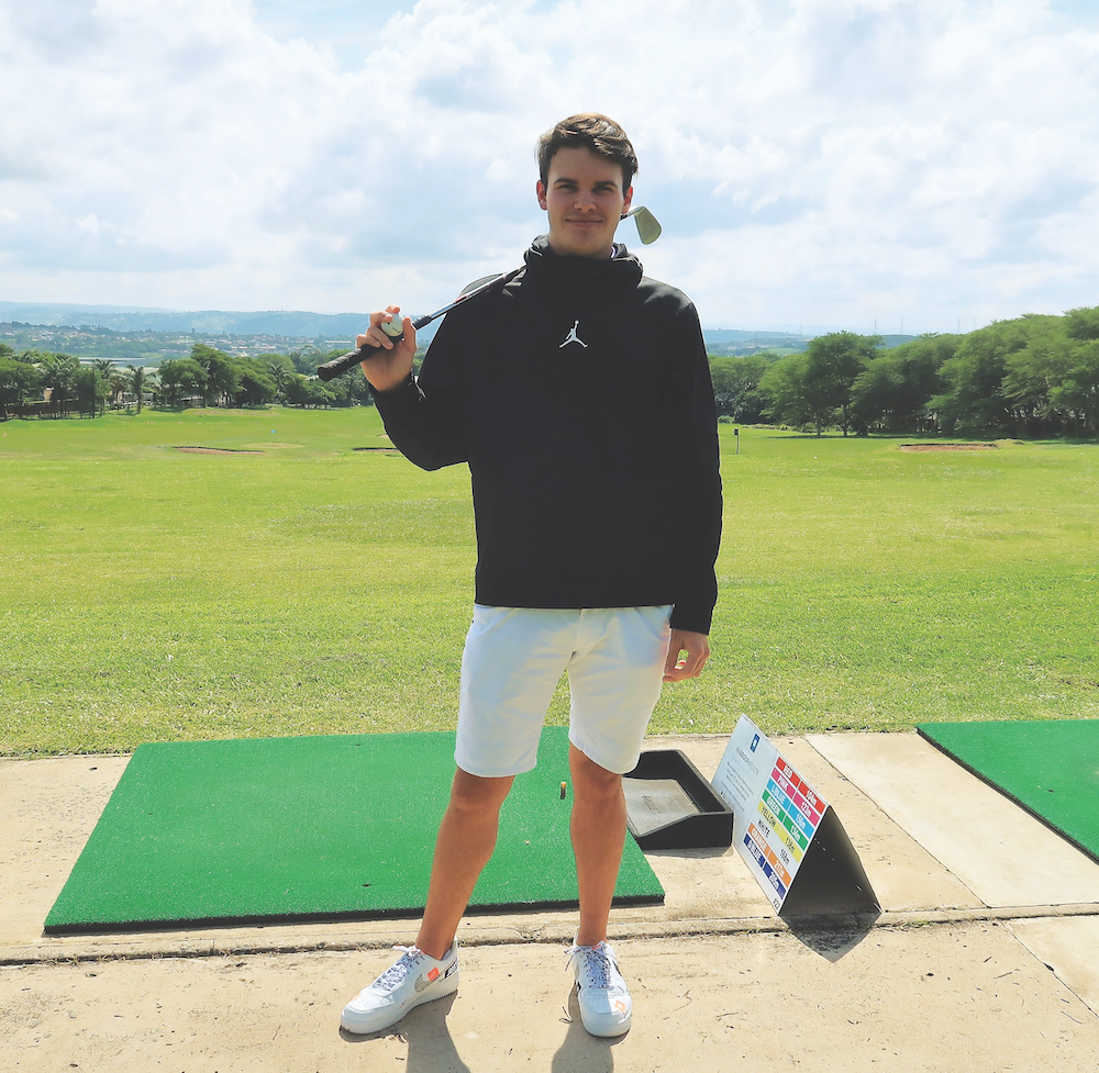Luke Mayo at the Mount Edgecombe driving range.